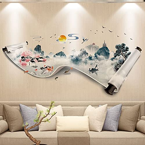 JZLMF Adhesivo decorativo para pared, ocultar imperfecciones, salón, fondo de TV, paisajes, papel pintado, decoración de pared de hotel