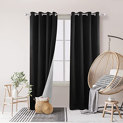 Deconovo Bedroom Blackout Curtains Grommet Top Thermal Insulated Window Drapes with Silver Coating for Living Room 52W x 95L Inch Black 2 Panels