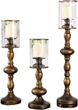 Candle Holders,Candle/Holder Set of 3 - Home Decor Pillar Candle Stand, Coffee Table Mantle Decor Centerpieces for Firepla...