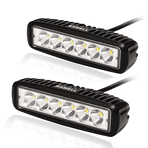 KAWELL 2 Pack 18W LED Light Bar 6.2 Inches 6500K Off Road Waterproof LED Work Spot Light Bar
