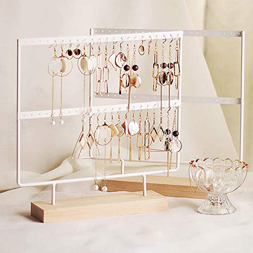 lemonadeus Earrings Organizer Jewelry Display Wood Stand (44 Holes 2 Layers) (White)