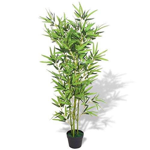 SOULONG - Plantas artificiales de bambú con maceta, 120 cm (4 pies) para decoración de interiores para el hogar, oficina, color verde natural