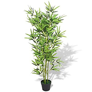 vidaXL Fake Bamboo Tree Artificial Greenery Plants in Nursery Pot Decorative Trees for Home, Office, Lobby 47.2″ Green