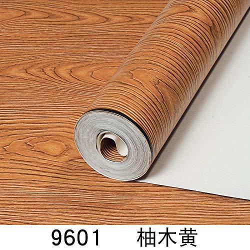 ACCEY Moderne chinesische Holzmaserung Tapete Log Farbe Wohnzimmer TV Hintergrund Wand Hotel Restaurant Bekleidungsgeschäft Nachahmung Holzplatte Tapete-9601 Teak Gelb Tapete nur