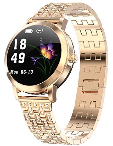 Damen Smartwatch Sport Uhr Fitness Tracker Wasserdicht Pulsmesser Schlaftracker Schrittzähler Kalorienzähler Armband Mädchen Fitnessuhr Armbanduhr Android IOS Sportuhren Smart Watch Rosegold