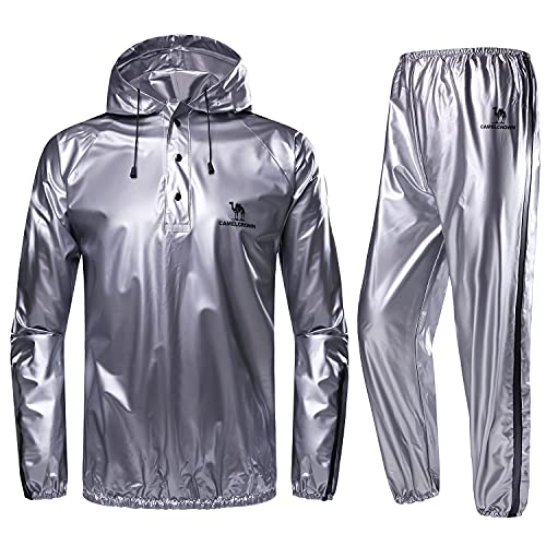 CAMEL CROWN Weight Loss Sweat Suit, Heavy Duty Sweat Sauna Suit for Men Women Exercise Gym Suit for Fitness, Grey, Medium