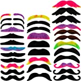 WILLBOND 48 Pieces Fake Mustaches, Self Adhesive Novelty Mustache Fiesta Party Supplies, Fancy Costume Fake Moustaches Stickers Set for Masquerade Party