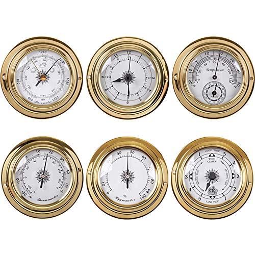 1Pcs 2 in 1 Thermometer and Hygrometer Weather Station Barometer Clock Hygrometer Thermometer Tide Clock 98Mm Dial Weather Forecast for Offices Garden Museums Indoor Outdoor,Tide Clock