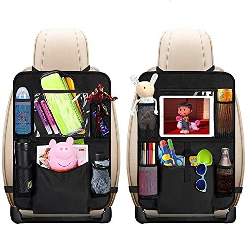 Auto Rückenlehnenschutz, Sisleyhome 2 Stück Auto Rücksitz Organizer für Kinder, Große Taschen und iPad-Tablet-Halter, Wasserdicht Autositzschoner, Kick Matten Schutz, Trittschutz für Autositz