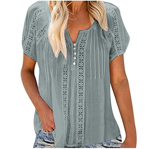 Camiseta de mujer vintage para verano, informal, cuello redondo, camiseta, blusa, sexy, cuello en V, sólida, ojal de ganchillo, manga corta, blusas para el tiempo libre