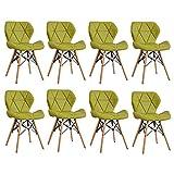 ZYXF Nórdico Silla Comedor Taburete Natural Madera Patas Y Tela Grano Cuero Cojín Cómodo Mariposa Respaldo Diseño for Restaurante Oficina Sala Estar Set De 8 (Color : Green)