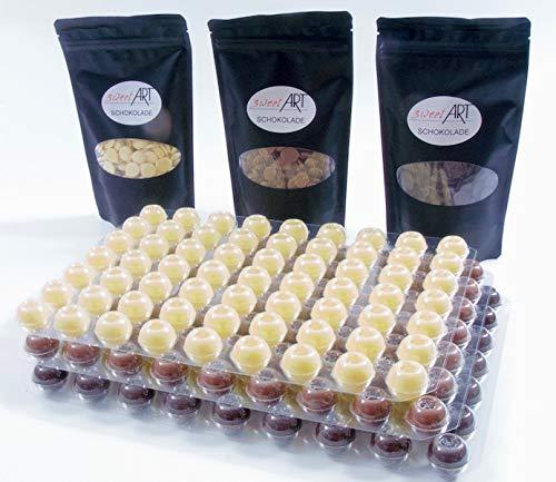 Schokoladentrüffel Hohlkugeln - Pralinen Hohlkörper mit Schokolade im 3 Set