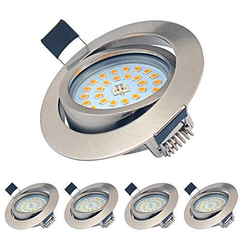 LED Einbaustrahler Dimmbar Schwenkbar Ultra Flach 5er Set 5W LED Modul IP44 230 Volt 500lm Warmweiss Einbauleuchten für Bad, Küche, Wohnzimmer