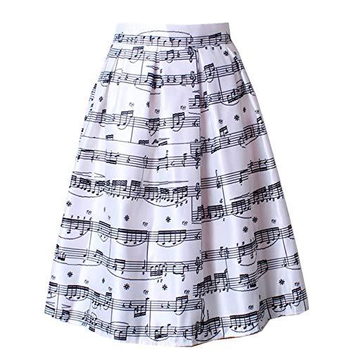 WDLZB Falda Mujer,Un Tamaño Plisado Alta Cintura Piano Música Nota Melodía Impresión Flared Midi Girl'S Faldas Simple Casual College Style Versatile Long Comfortable Ladies Bottoms