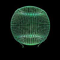 クリエイティブ野球3Dナイトライトカラフルなリモコンタッチテーブルライトステレオお土産調光錯視パーフェクトギフト子供のおもちゃベビークラックカラフル:タッチ+リモート