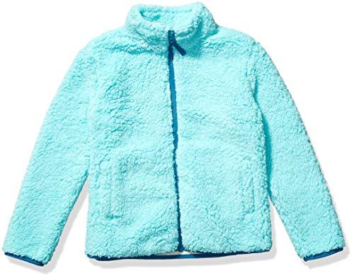 Amazon Essentials Girl's Polar Fleece Lined Sherpa Full-Zip Jacket, Aqua, Small