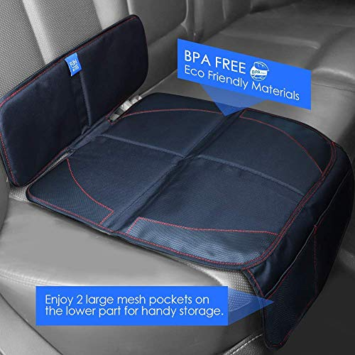 Funbliss Car Seat Protector for Baby Child Car Seats - Auto Seat Cover Mat for Under Carseat with Thickest Padding to Protect Leather