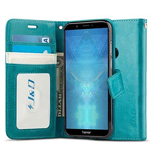 JundD Kompatibel für Huawei Honor 7C Leder Hülle, [RFID Blocking Standfuß] [Slim Fit] Robust Stoßfest PU Leder Flip Handyhülle Tasche Hülle für Huawei Honor 7C Hülle - Türkis
