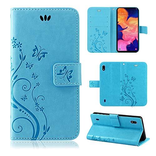 betterfon | Samsung Galaxy A10 SM-A105 Hülle Flower Case Handytasche Schutzhülle Blumen Klapptasche Handyhülle Handy Schale für Samsung Galaxy A10 SM-A105 Blau