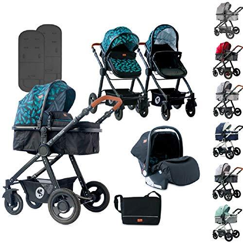 Lorelli cochecito combinación Alexa 3 en 1 ruedas de goma asiento de bebé unidad de asiento de pies muff, color:negro
