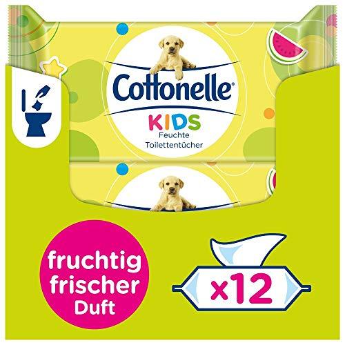 Cottonelle feuchtes Toilettenpapier, Kids - fruchtig frischer Duft, biologisch Abbaubar, wiederverschließbar, Vorteilspack, 12 x 42 Tücher