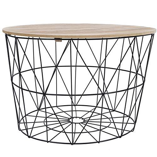 AYNEFY Mesa auxiliar redonda de café, cesta de madera de la tabla lateral superior del almacenamiento de la tabla lateral de la cesta del alambre del metal