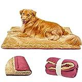 TVMALL Colchoneta para Perros Cama Gatos Reversible Almohadilla para Mascotas Lavable Cojín de Felpa Suaves Exterior viaje Mantas Adecuado para Perros Grandes Medianos y Qequeños, Rojo vino,110 x 70cm