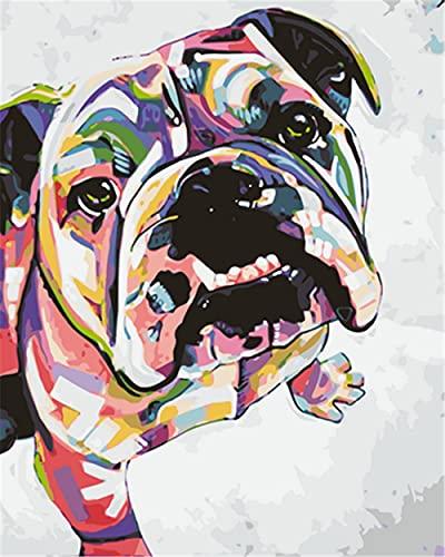 N\A Pinturas con Numeros para Adultos DIY Perro Animal Multicolor Pintura Kit For Mayores Avanzada Niños Joven Pintar Numeros
