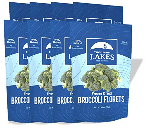Thousand Lakes Freeze Dried Fruits and Vegetables - Broccoli Florets 8-pack 0.6 ounces (4.8 ounces total)