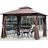 10' X 10' Gazebo Canopy Tent Outdoor Gazebo for Patios with Sidewall...