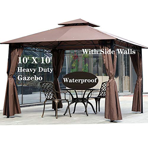 10' X 10' Gazebo Canopy Tent Outdoor Gazebo for Patios with Sidewall and Fabric,Large Party Tent,Metal Frame Waterproof Wedding Tent,UV Block Sun Shade for Garden Backyard Lawns Deck,Brown