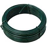 NIEDERBERG METALL rollo de Alambre recubierto de PVC 25 m de largo metal protegido por una envoltura de plástico verde | Diámetro Ø2mm | Verde