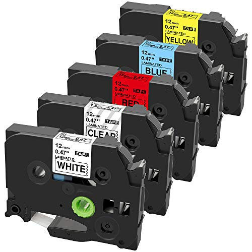 Airmall Compatible Label Tape Replacement for Brother TZ TZe-131 TZe-231 TZe-431 TZe-531 TZe-631 Laminated Label, Work with Brother P-Touch PT-H110, PT-D210 Label Marker (5 Pack Combo Set)
