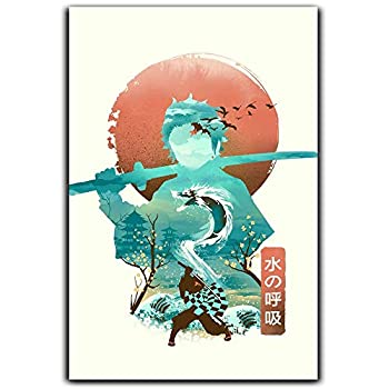 Demon Slayer Canvas Poster Wall Art Wall Art for Living Illusion Negative Space Breath of The Water 24x36 Inch