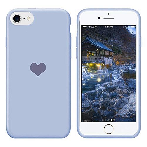 Für iPhone 7 Hülle Silikon Schutzhülle Handyhülle für iPhone 8 Silikonhülle für iPhone SE 2020 Herz Motiv schutzschale Hüllen Tasche Handytasche Weiche Etui (Blau, iPhone 7/iPhone 8/iPhone SE 2020)