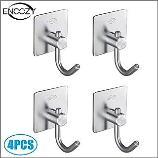 Encozy Metal Hooks,Self Adhesive Stainless Steel Hooks,Waterproof Kitchen Shower Oranizer for Towel,Bathrobe (Adhesive Hooks C)