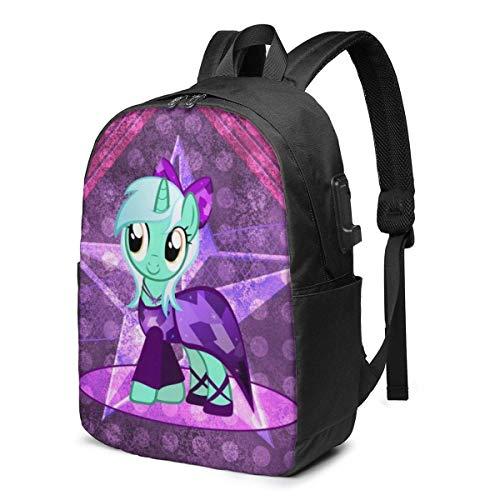Lawenp Mochila para computadora portátil My Little Rainbow Pony de Dibujos Animados de Anime, con Puerto de Carga USB/Mochilas Impermeables Informales Elegantes para la mayoría de computadoras por