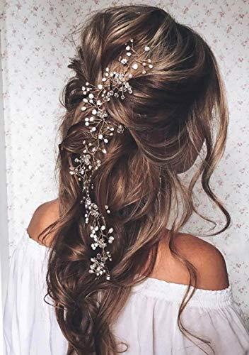 Unicra novia boda perla pelo vides cristal Babys aliento tocados boda accesorios para el cabello para mujeres y niñas (plata)