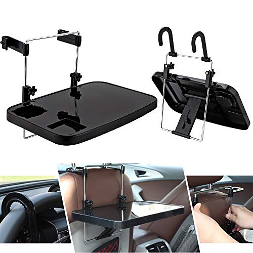 CPROSP Car Desk Folding, Car Lunch Desk Portable, Car Steering Wheel Seat Tray with Cup Holder, Car Seat Table for Writing, Working, Drinking, Dinning