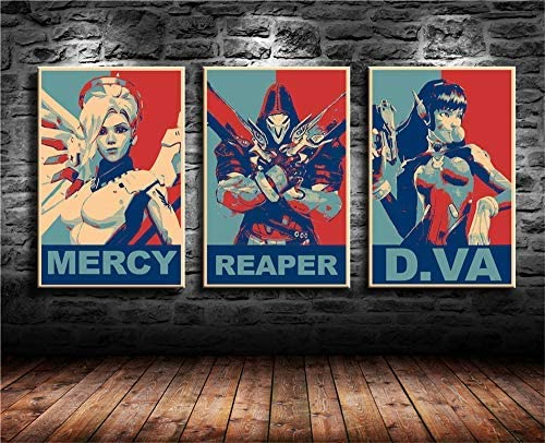 Max 73% OFF Artwcm Overwatch D.Va Reaper Mercy security Paintings Modern Can Oil 3PCS