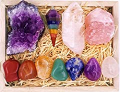 Natural Crystals And Healing Stones Kit – The Essential Healing Crystal Sets Gemstones is a great value for a complete Charka Healing Crystal kit for you to immediately get the most from you healing crystal and balance your chakras. It includes 7 cha...