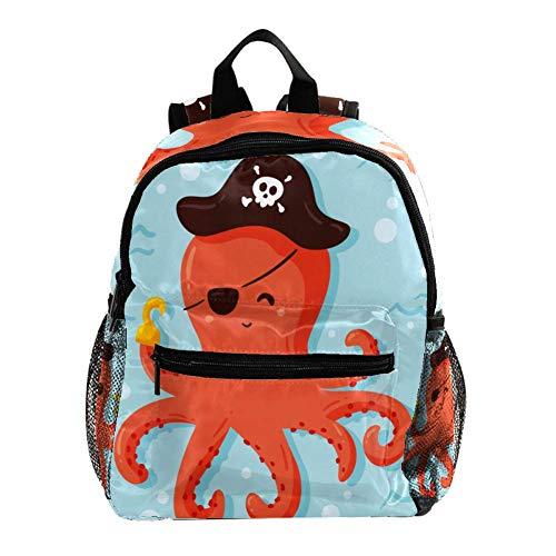 Mochila Infantil Pirata de Pulpo de Dibujos Animados Mochila para Niños Portátil Mochila Escolar Impermeable Mochila De Viaje para Niños Pequeños 25.4x10x30CM
