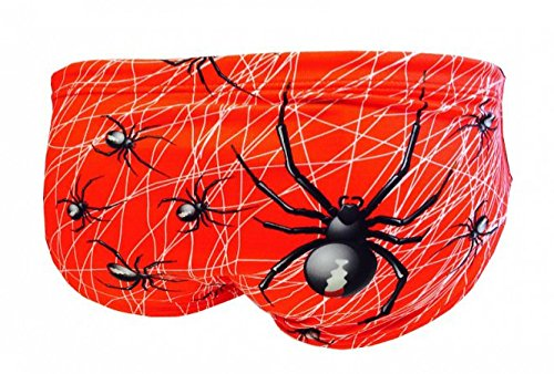 Turbo Schwimmhose ARACNID Spinne rot für Männer Wasserball-Hose WP (Slip Gr. 5 / dt. Gr. 46 / Turbo Gr. L)