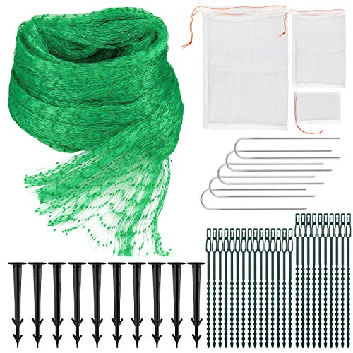 Hysagtek Filet de protection anti-oiseaux (10 x 3 m) pour plantes de jardin avec 75 attaches de câble en nylon, 15 piquets de fixation et 5 sacs de protection pour fruits