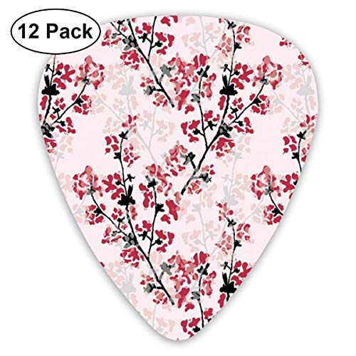 Guitar Picks - Abstract Art Colorful Designs,Digital Nature Scene With Tree Windy Branches Crescent Moon And Stars Artwork,Unique Guitar Gift,For Bass Electric & Acoustic Guitars-12 Pack