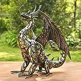 Zaer Ltd. Metal Dragon Statue Decoration (High Wings, Tail Up)
