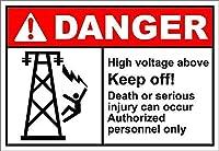 上記の高電圧は避けてください! 危険 金属板ブリキ看板警告サイン注意サイン表示パネル情報サイン金属安全サイン