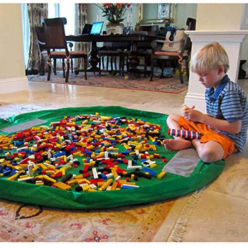 BigNoseDeer Kinder Spielmatte Faltbare Baby Spielzeug Aufbewahrungstasche Kinderwolldecke Kinderspielzeug Organizer 60 Zoll (150cm) (Grün)