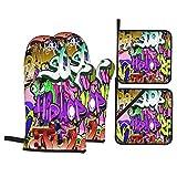 Juego de 4 Guantes y Porta ollas para Horno Resistentes al Calor Fondo de Arte Urbano de Pared de Graffiti Transparente para Hornear en la Cocina,microondas,Barbacoa