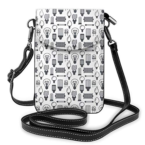 Jiger Women Small Cell Phone Purse Crossbody,Repetition Of Various Lamp Types Fluorescent Filament Halogen Diode